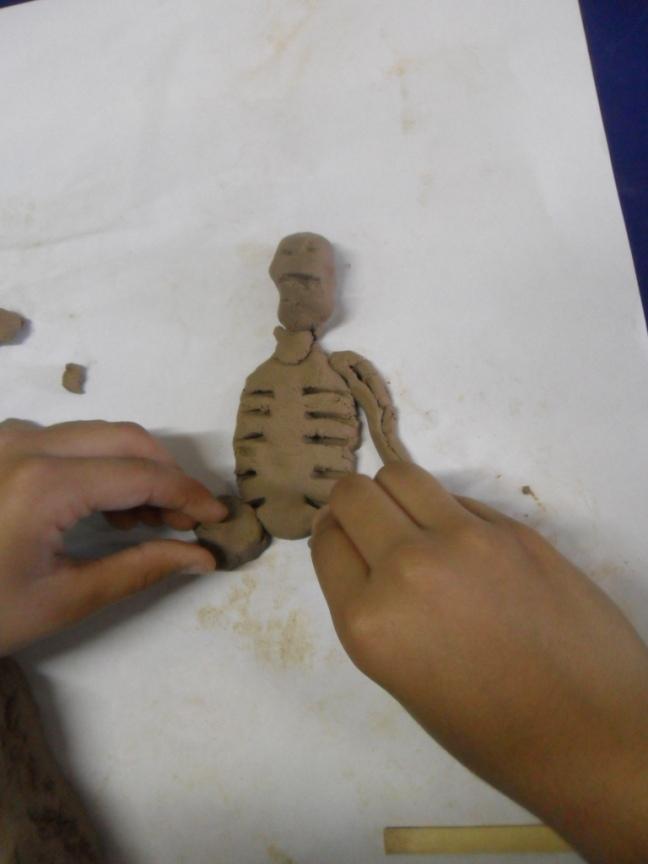 Argila usada para representar o esqueleto humano