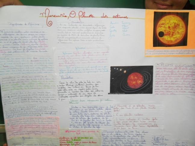 Com o cartaz repleto de informações, não foi difícil saber um pouco mais sobre o planeta Mercúrio