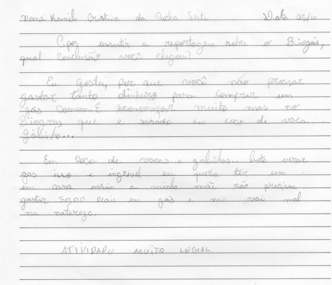 Os alunos foram estimulados a observar e dar sua opinião sobre o que vimos na reportagem